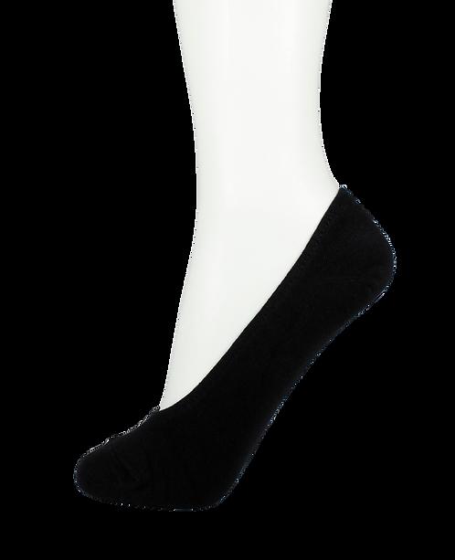 Women's Cotton No Show Socks Rubber Top Black