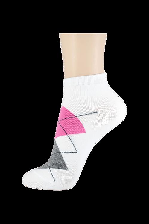 Women's Thin Cotton Ankle Diamonds Socks White