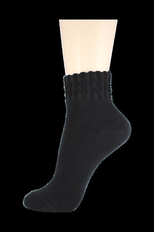 Women's Thin Quarter Twister Socks Black