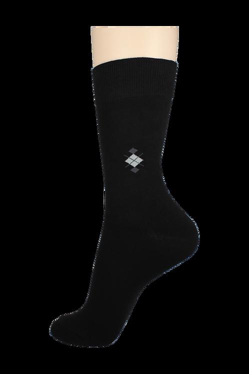 Men's Pattern Dress Socks X Diamond Black