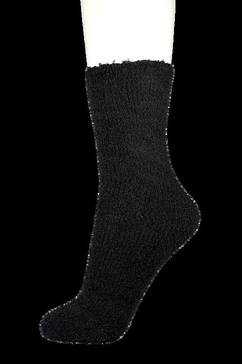 Fluffy Soft Bed Socks Plain Black