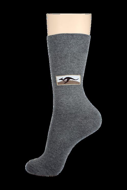 Men's Pattern Dress Socks Kangaroo Grey