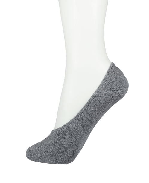 Men's Cotton No Show Socks Rubber Top Grey