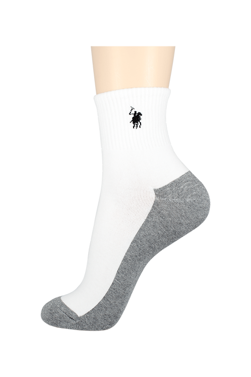 Women's Thin Quarter Socks Horse White/Grey