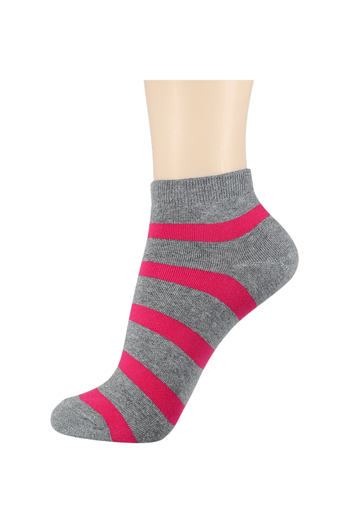Women's Thin Cotton Ankle 2 Ring Socks Grey/Pink