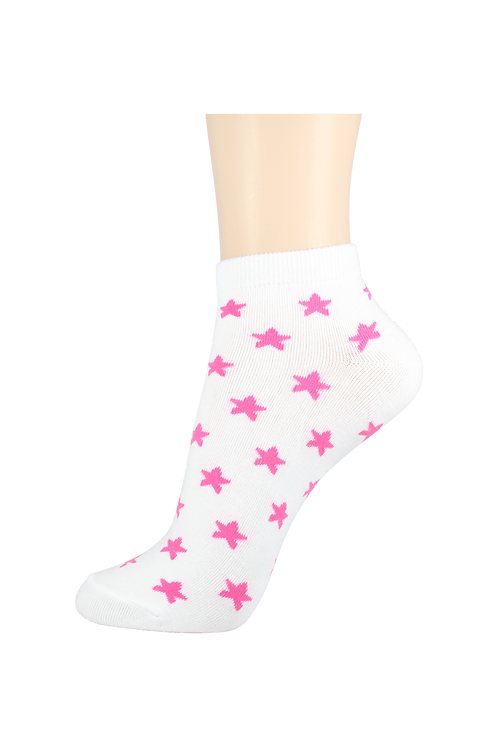 Women's Thin Cotton Ankle Star Socks White/Pink