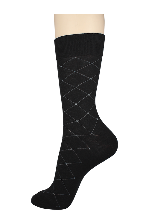 Men's Thin Dress Socks Diamonds Black