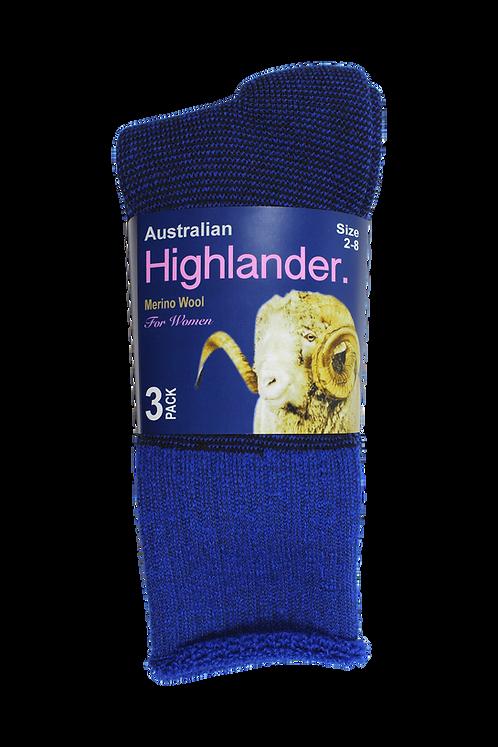 Women's Merino Socks Blue (3 in Pack)