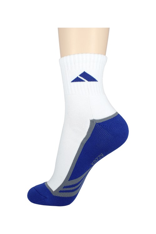 Men's Cushion Quarter Tri Line Socks Blue