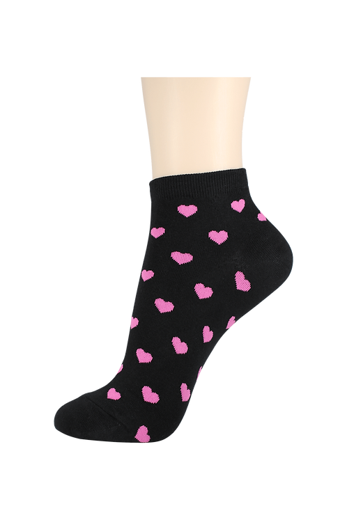 Women's Thin Cotton Ankle Hearts Socks Black/Pink
