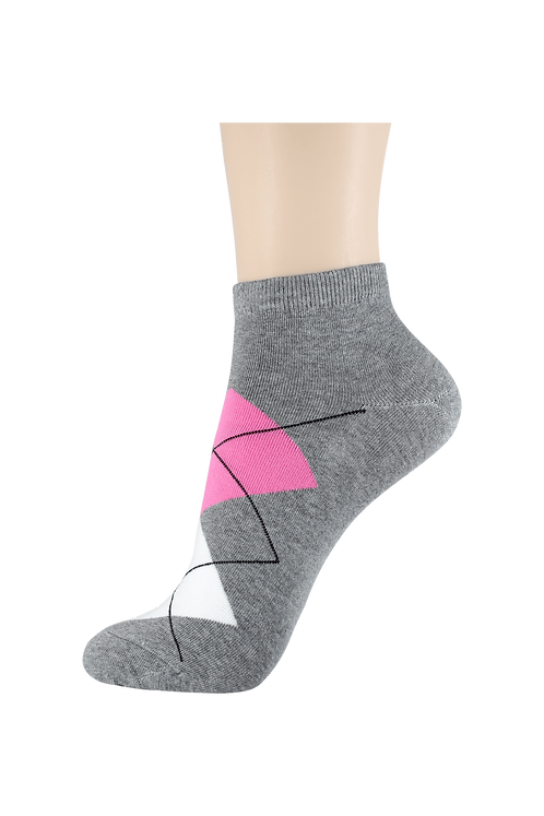 Women's Thin Cotton Ankle Diamonds Socks Grey