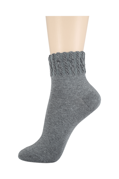Women's Thin Quarter Twister Socks Grey