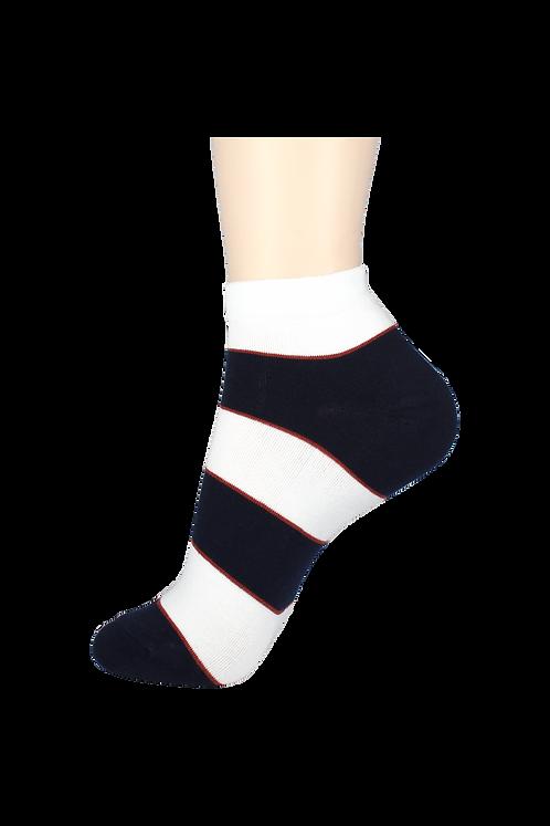 Men's Thin Ankle Socks 2-Ring White/Navy