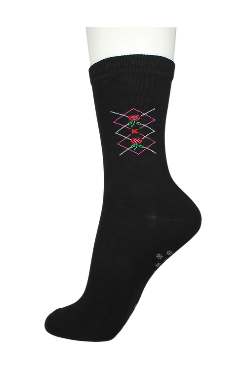 Women's Cotton Dress Socks Flower Black