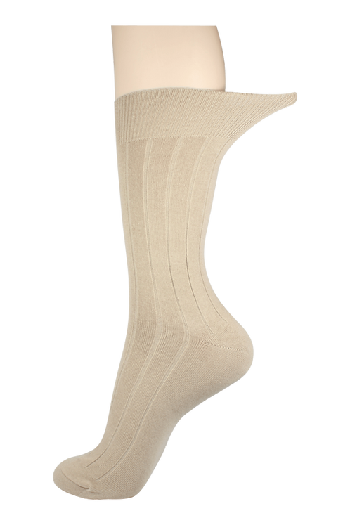 Men's Loose Top Socks Line Creme