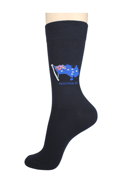 Men's Pattern Dress Socks Flag Navy