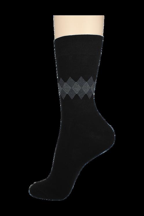 Men's Pattern Dress Socks Mid Diamonds Black