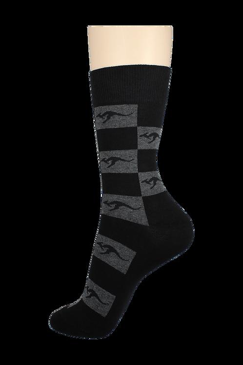 Men's Pattern Dress Socks Kangaroo Checkers Black