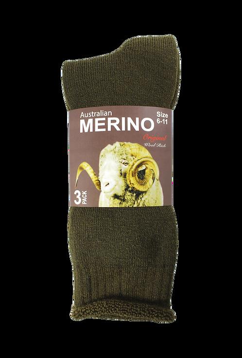 Men's Merino Socks Khaki (3 in Pack)