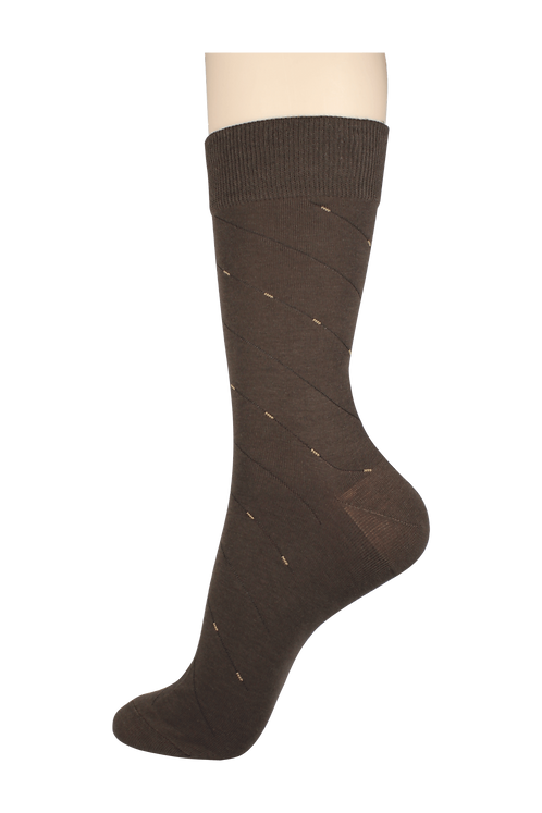Men's Thin Dress Socks 2-Line Brown