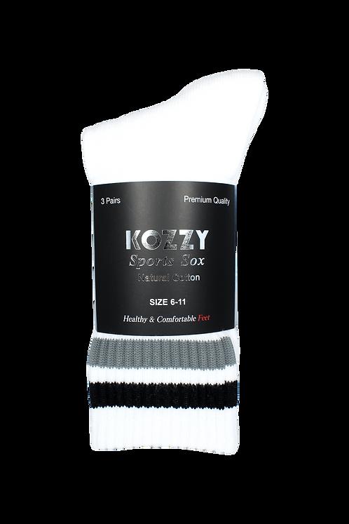 Men's Sports Crew Socks White/Grey (3 in Pack)
