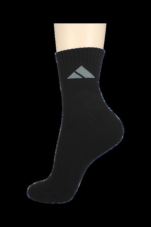 Men's Cushion Quarter Socks Tri Black