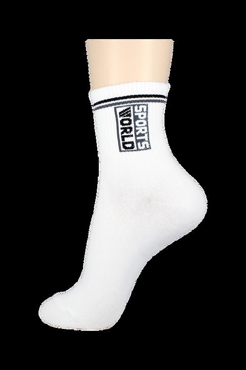 Men's Thin Quarter Socks Sports World White
