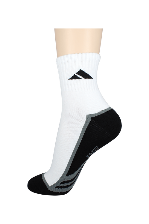 Men's Cushion Quarter Tri Line Socks Black