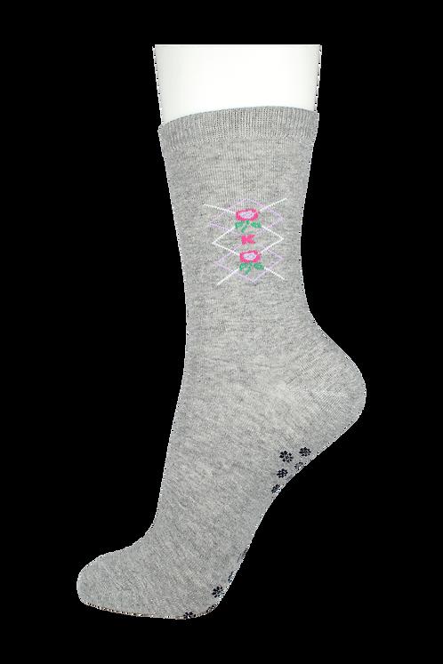 Women's Cotton Dress Socks Flower Grey