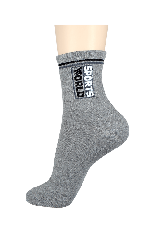Men's Thin Quarter Socks Sports World Grey