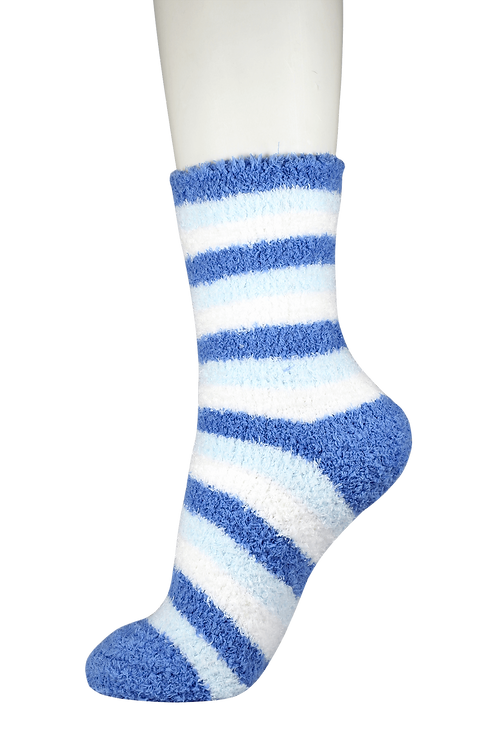 Fluffy Soft Bed Socks Blue Stripe