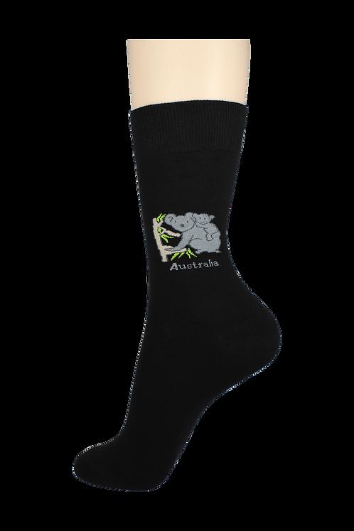 Men's Pattern Dress Socks Koala Black