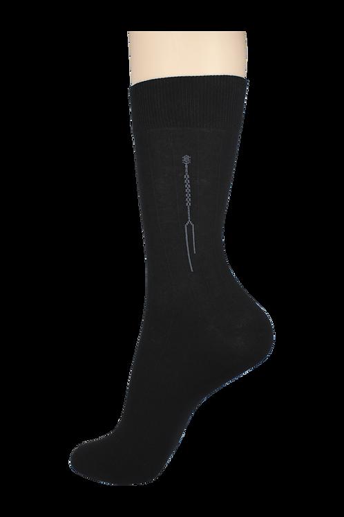 Men's Thin Dress Socks Line Black