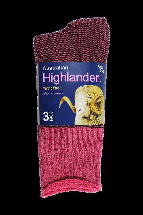 Women's Merino Socks Pink (3 in Pack)