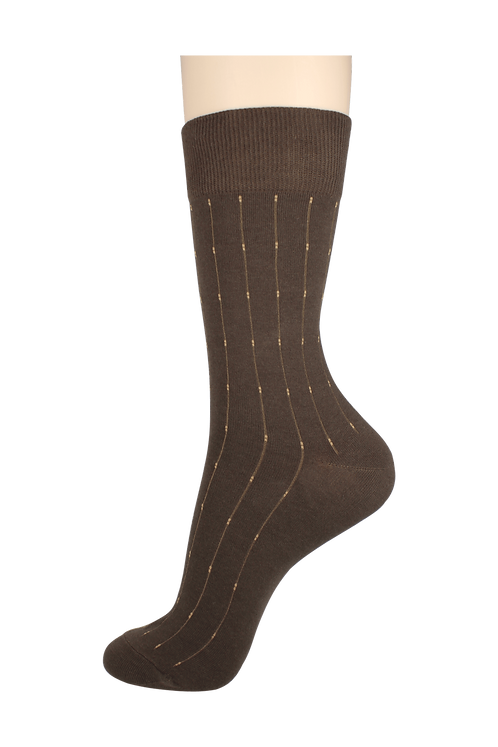 Men's Pattern Dress Socks Dots Brown