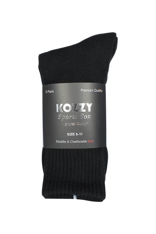 Men's Sports Crew Socks Black (3 in Pack)