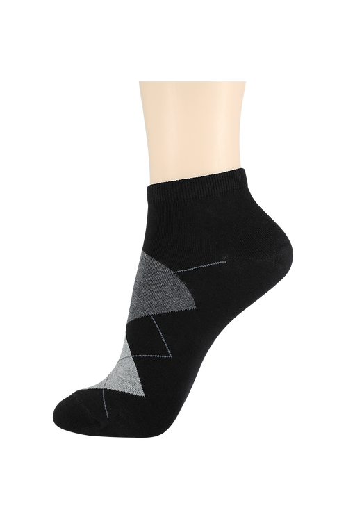 Women's Thin Cotton Ankle Diamonds Socks Black