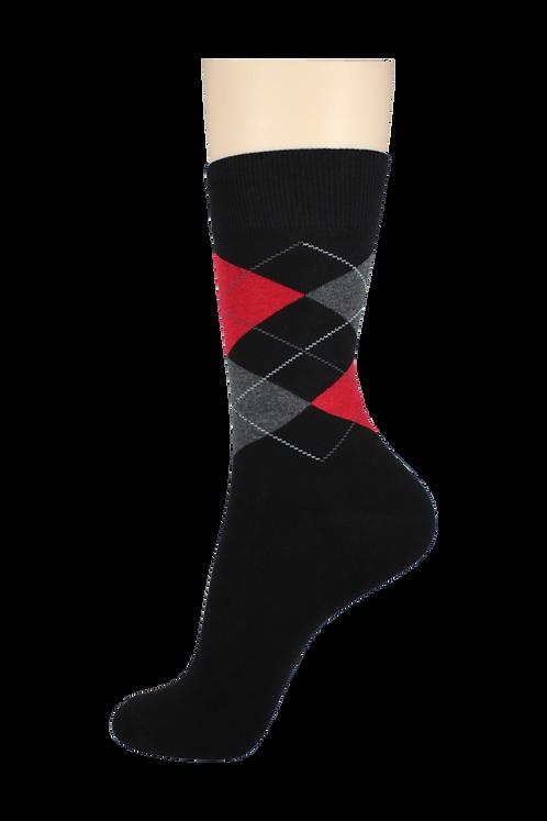 Men's Pattern Dress Socks Red/Grey Checkers