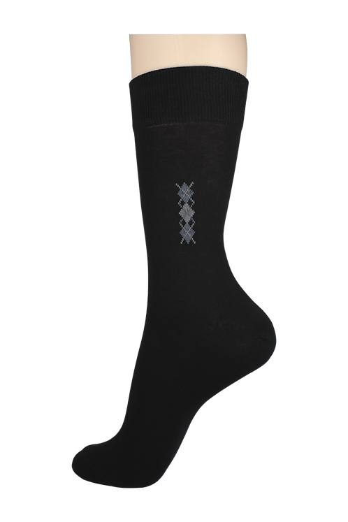 Men's Thin Dress Socks 3 Diamonds Black