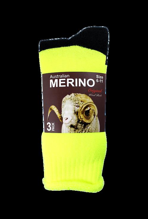 Men's Merino Socks Fluro Yellow (3 in Pack)