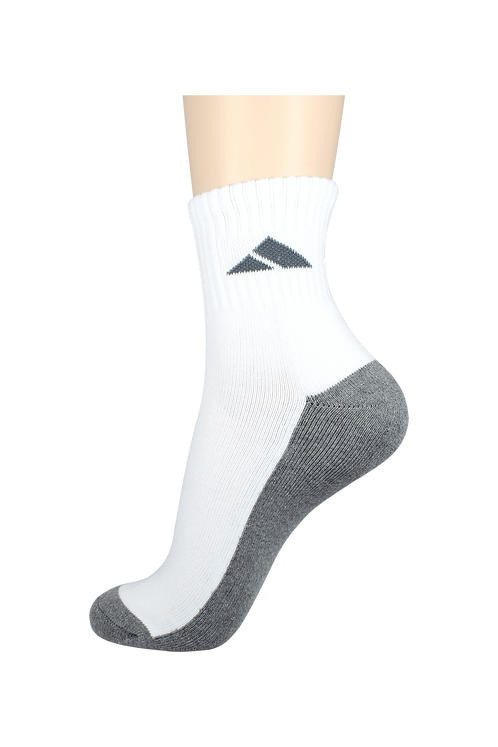 Men's Cushion Quarter Socks Tri White/Grey