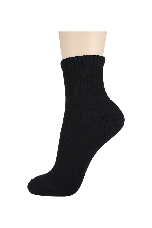 Women's Cushion Quarter Socks Black
