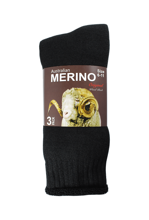 Men's Merino Socks Black (3 in Pack)