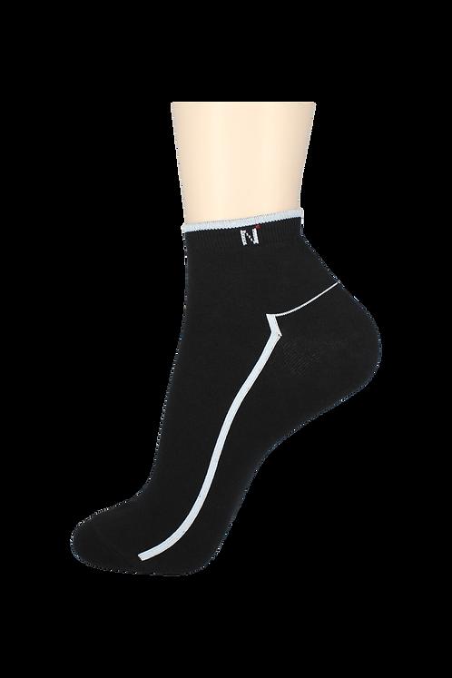 Men's Thin Ankle Socks N Black/White