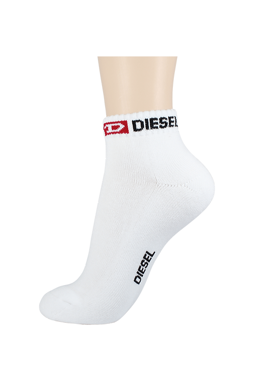 Men's Cushion Ankle Diesel Socks White/Black