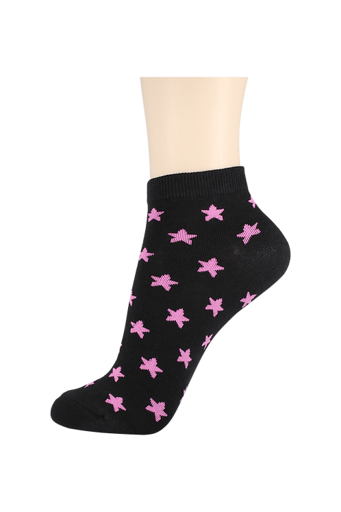 Women's Thin Cotton Ankle Star Socks Black/Pink