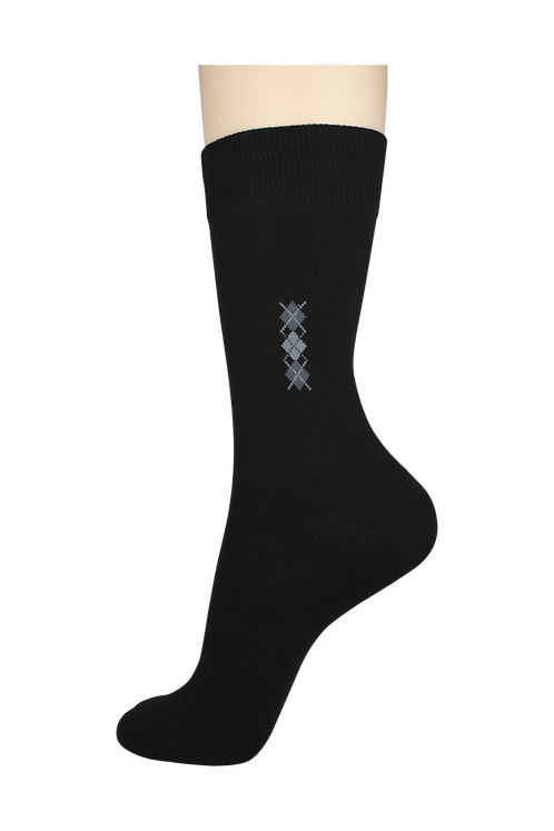 Men's Pattern Dress Socks 3 Diamonds Black
