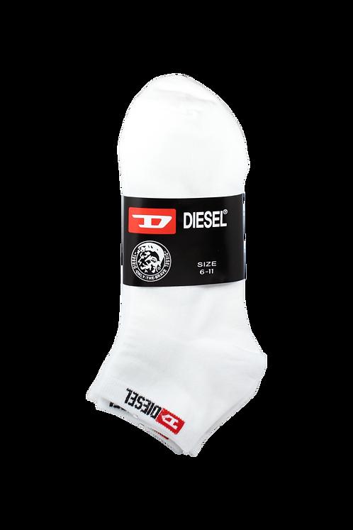 Men's Thin Cotton Ankle Diesel Socks White/Black (4 in Pack)