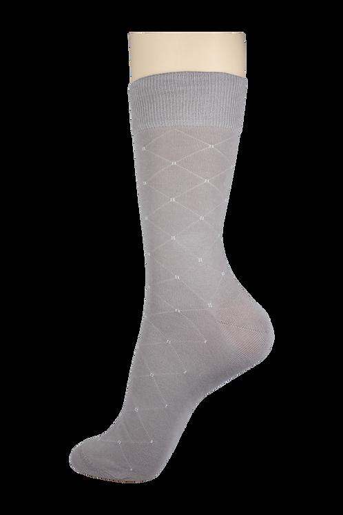 Men's Thin Dress Socks Diamonds Light Grey