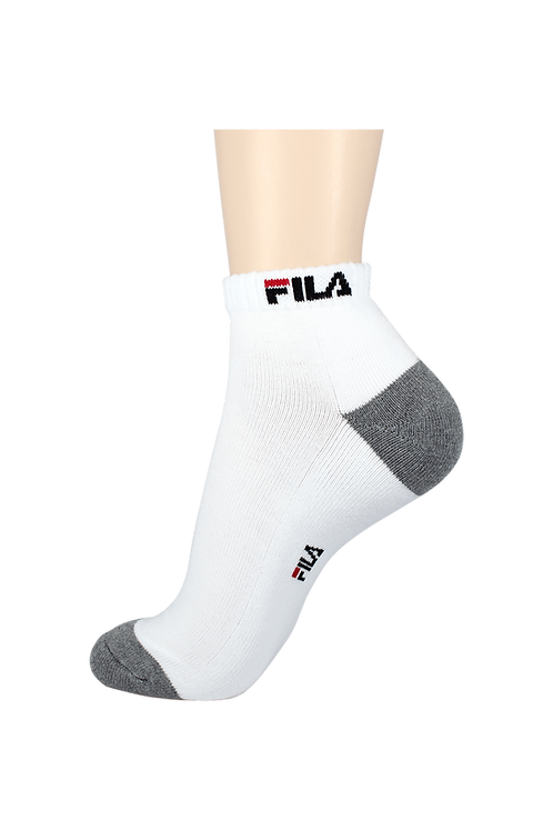 Men's Cushion Ankle Fila Socks White/Grey